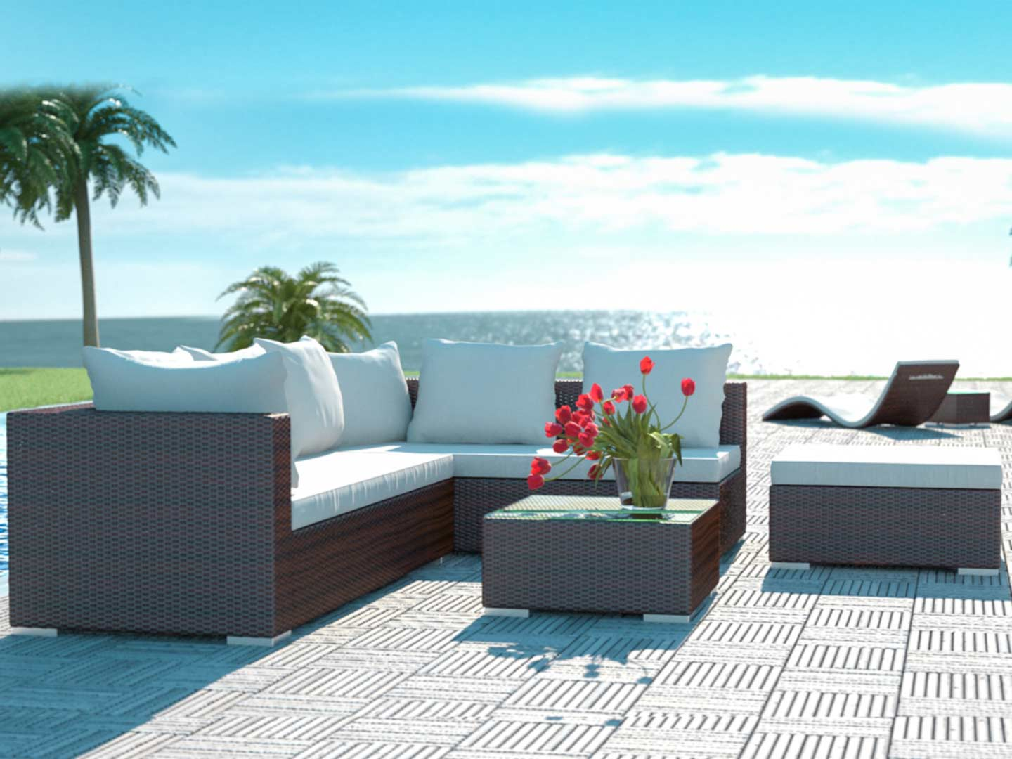 artelia rattan terrassensitzgruppe f r garten terrasse. Black Bedroom Furniture Sets. Home Design Ideas