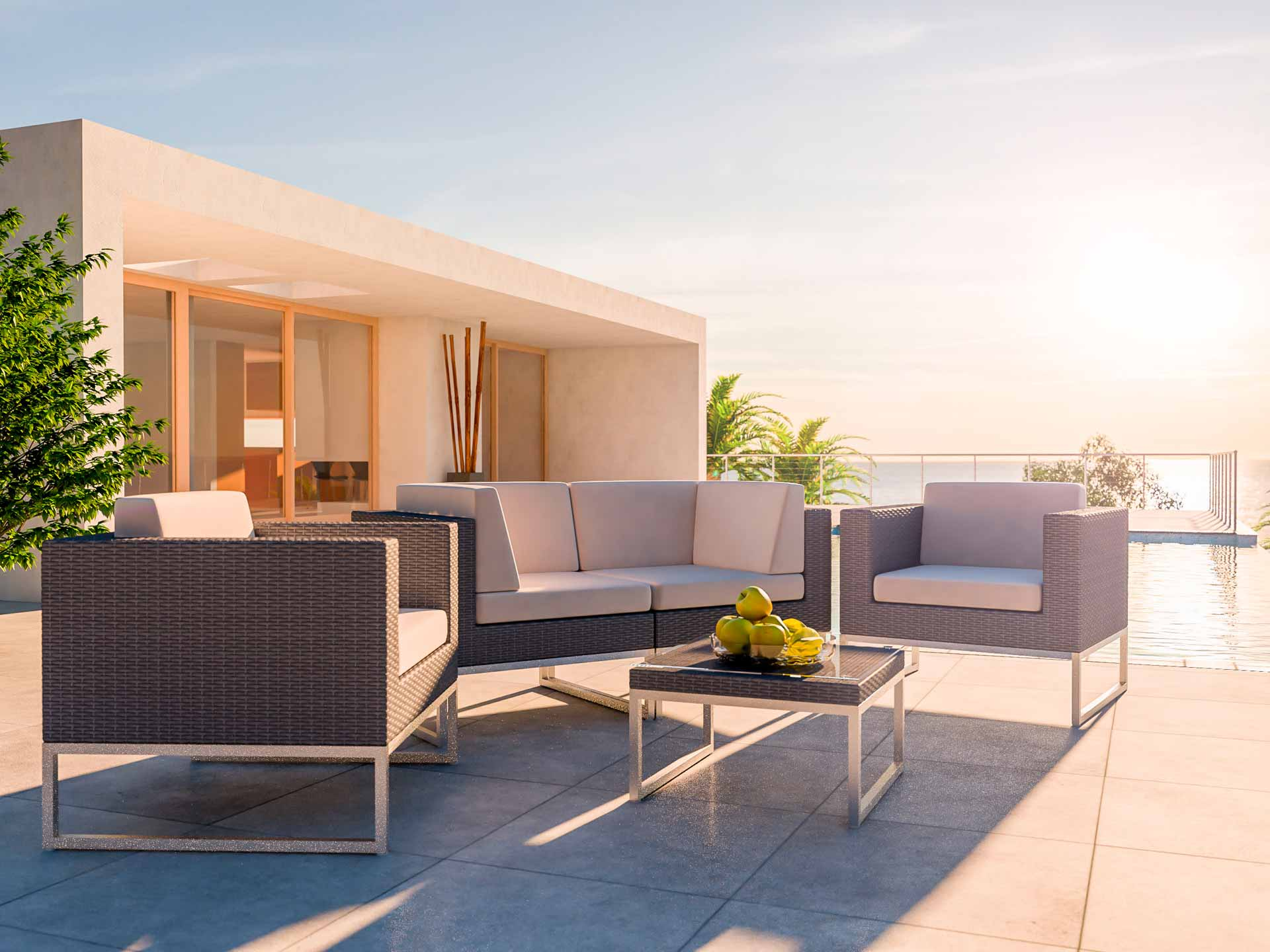 artelia polyrattan aluminium garnitur im lounge stil alivera s. Black Bedroom Furniture Sets. Home Design Ideas