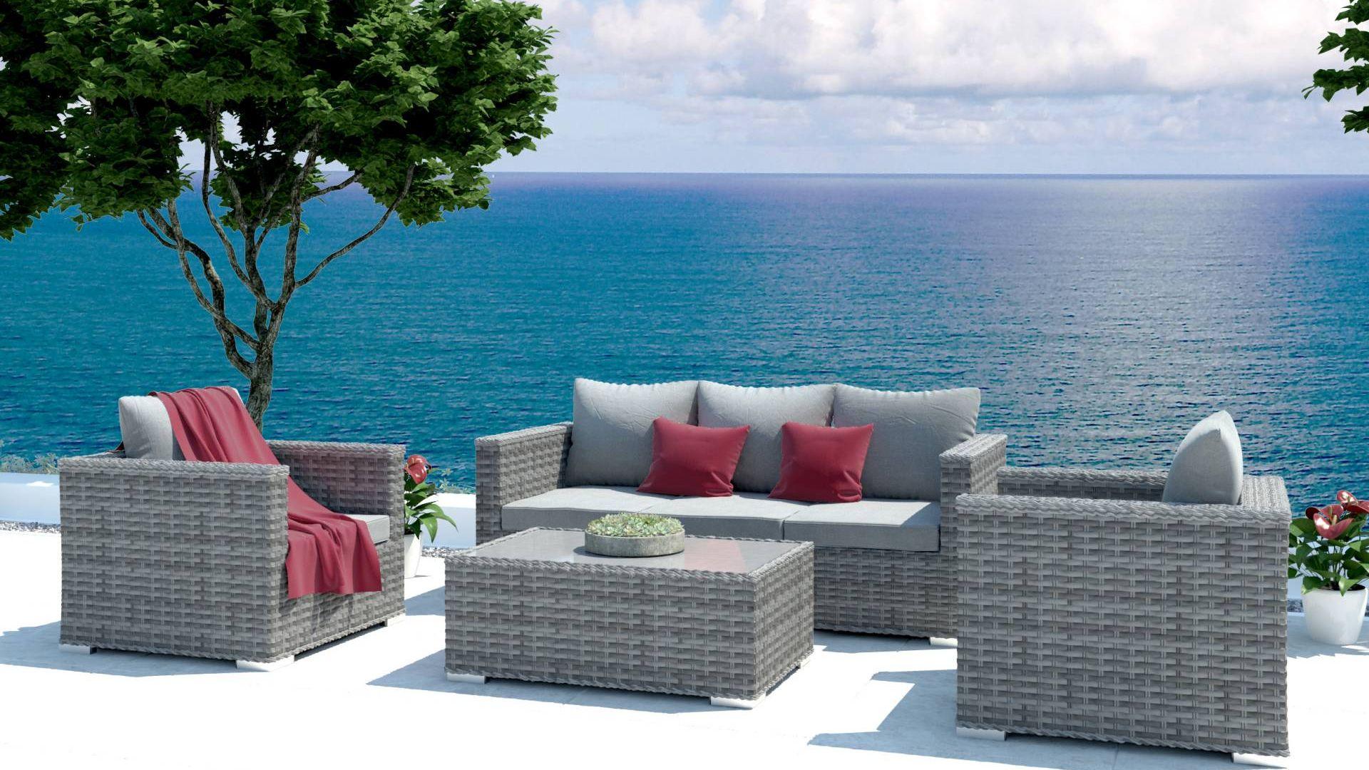 ARTELIA | Polyrattan Garnitur im Lounge Stil Annabell