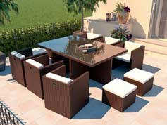 Boreas L - Polyrattan Bank Set