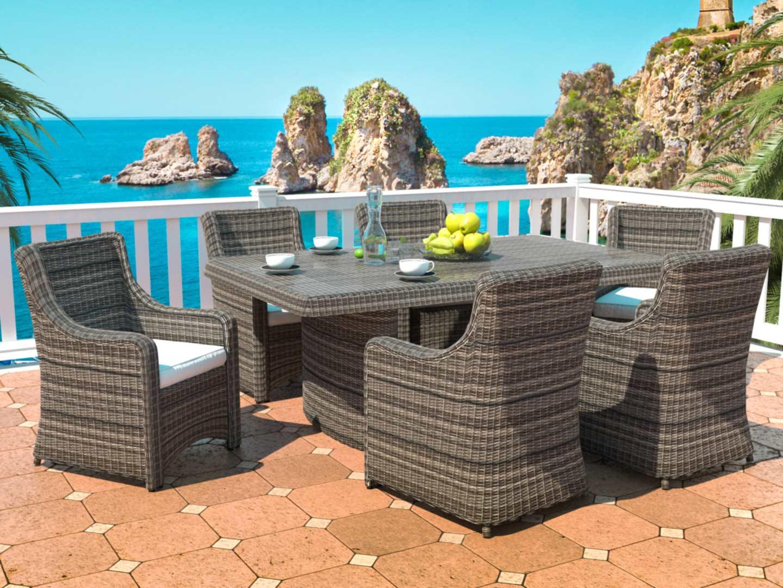 rattan essgruppe. Black Bedroom Furniture Sets. Home Design Ideas