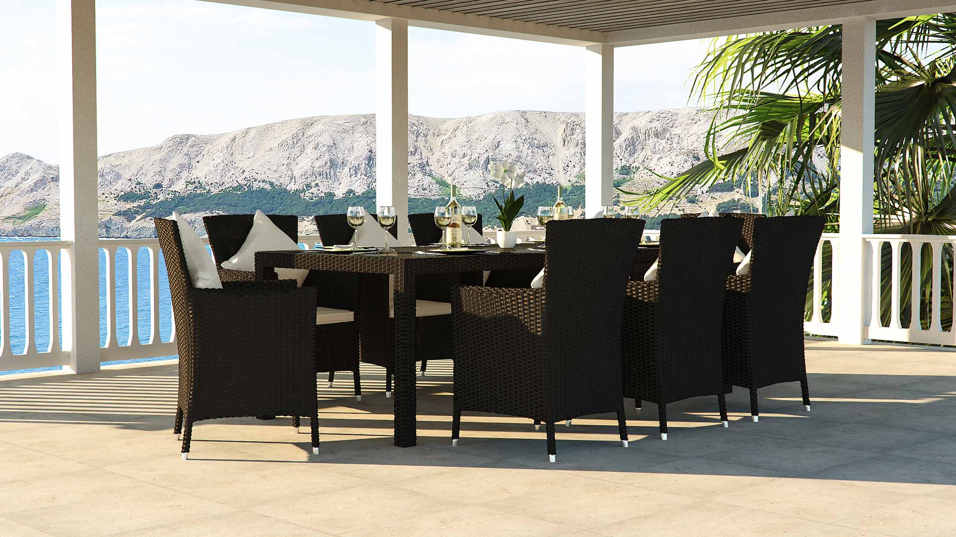 artelia terrassen esstisch set f r 8 personen aus polyrattan. Black Bedroom Furniture Sets. Home Design Ideas