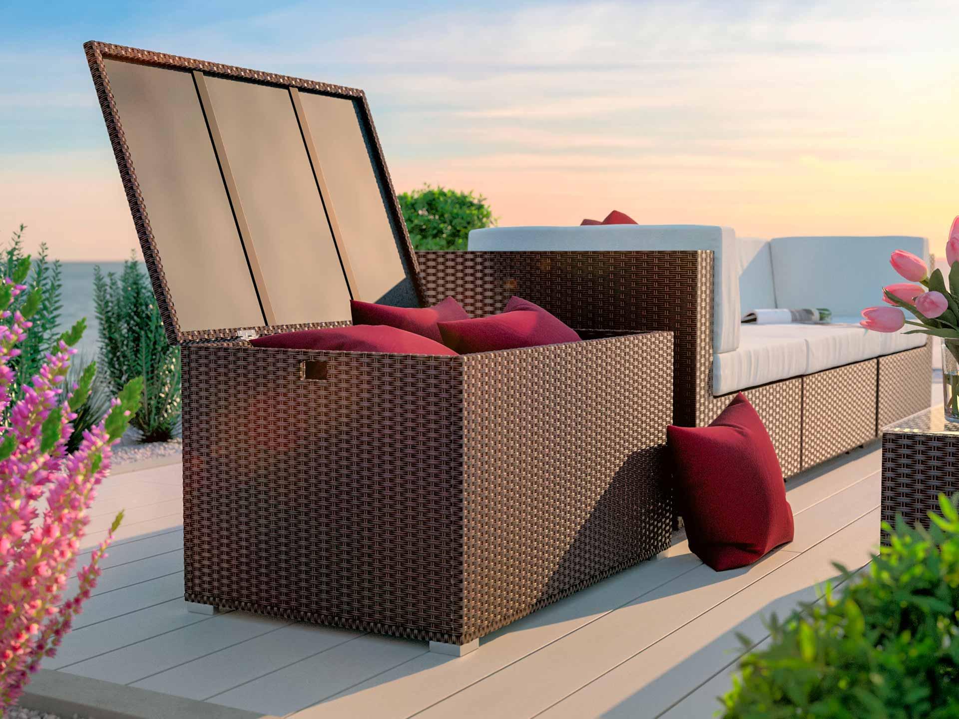 artelia rattan auflagenbox f r kissen und auflagen aus polyrattan. Black Bedroom Furniture Sets. Home Design Ideas