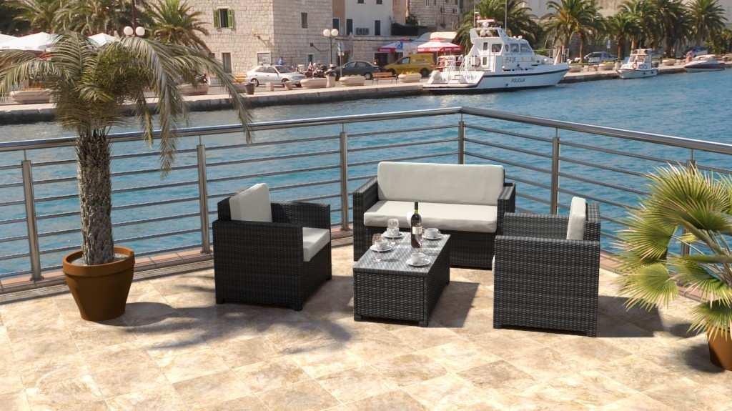 artelia polyrattan sitzgruppe f r terrasse und balkon. Black Bedroom Furniture Sets. Home Design Ideas