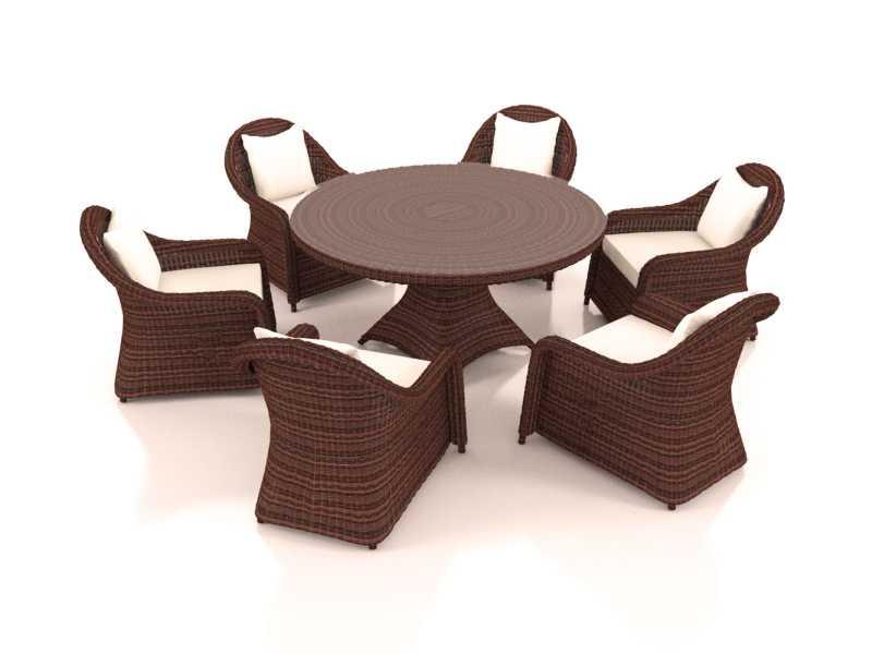 artelia rattan essgruppe f r 6 personen mit tisch und st hlen aus polyrattan. Black Bedroom Furniture Sets. Home Design Ideas