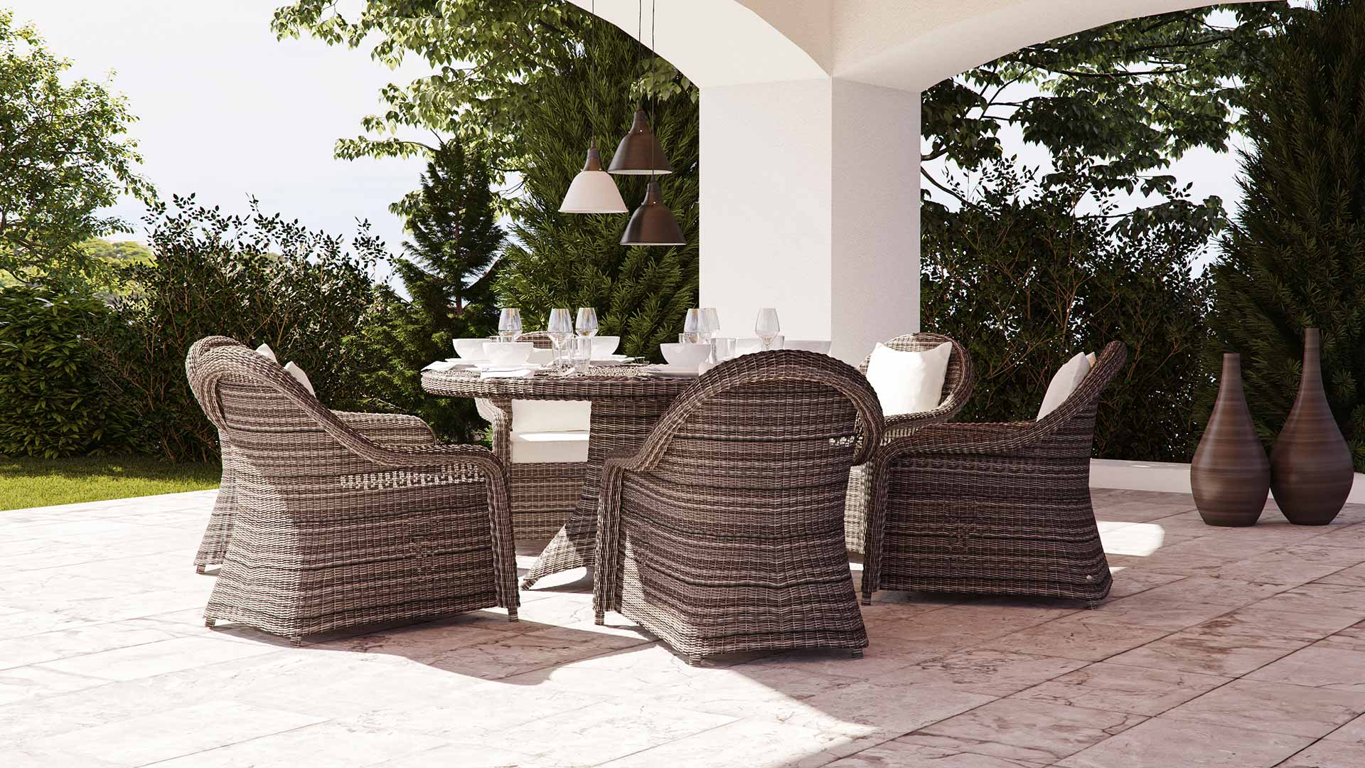 artelia rattan essgruppe f r 6 personen mit tisch und st hlen aus polyrattan. Black Bedroom Furniture Sets. Home Design Ideas
