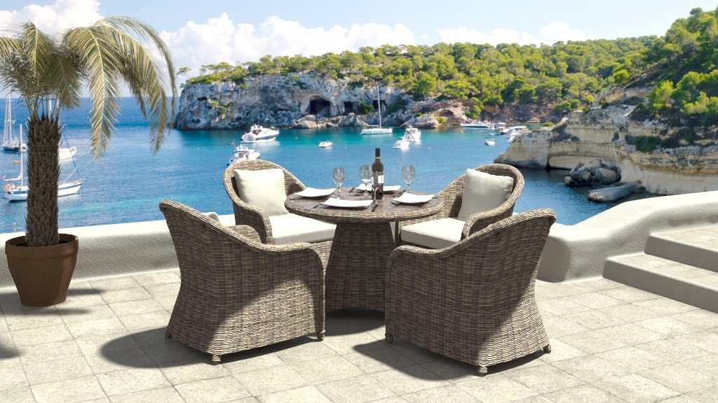 artelia rattan essgruppe f r 4 personen mit tisch und st hlen aus polyrattan. Black Bedroom Furniture Sets. Home Design Ideas