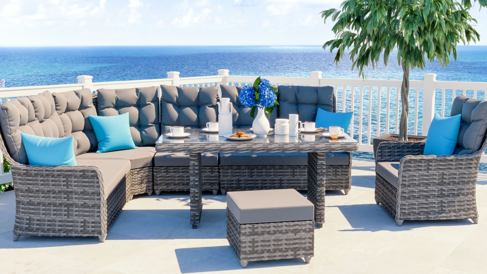 Artelia gartenm bel esstisch set im lounge design for Lounge set rattan gunstig