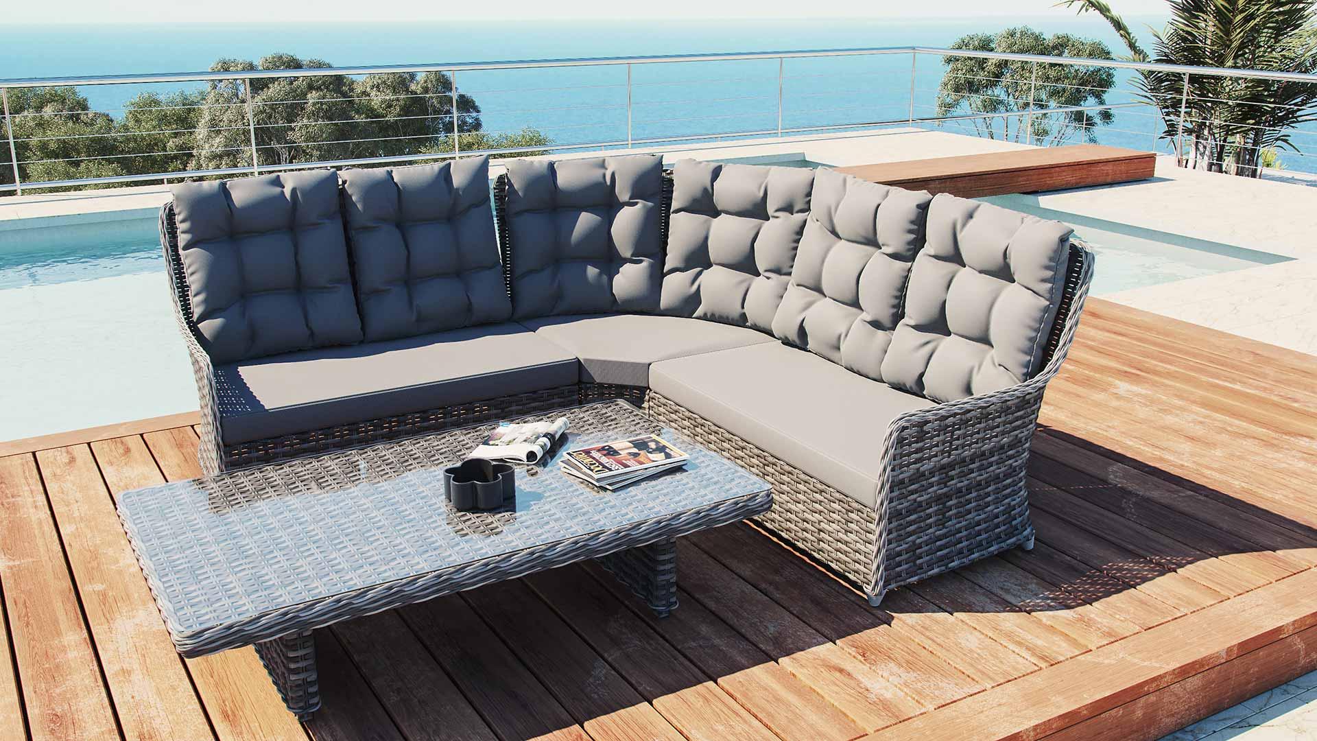 artelia gartenm bel esstisch set im lounge design g nstig im rattan shop kaufen. Black Bedroom Furniture Sets. Home Design Ideas