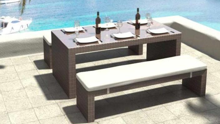 Flammea - Polyrattan Bank Set