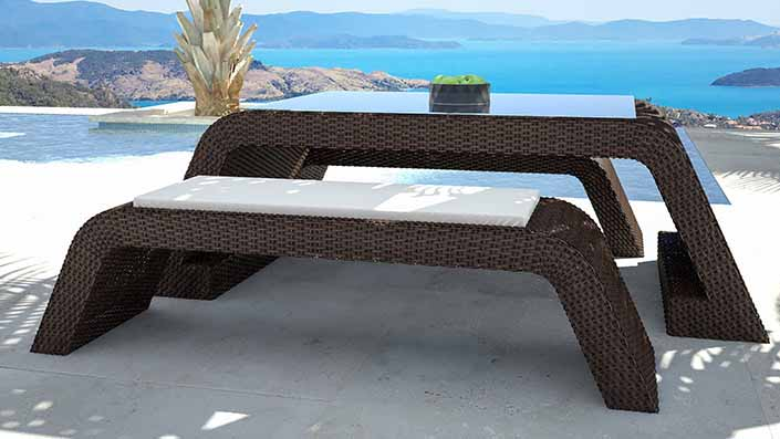 Flavia - Polyrattan Bank Set