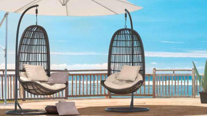 artelia h ngesessel aus rattan mit gestell aus wetterfesten polyrattan. Black Bedroom Furniture Sets. Home Design Ideas