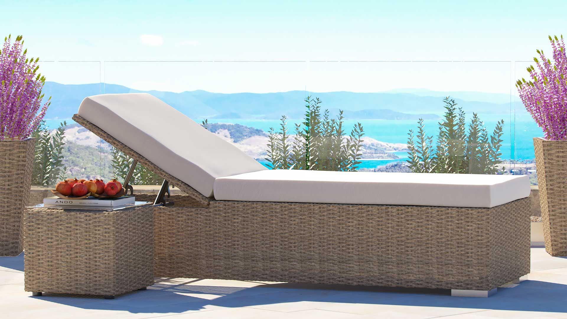 artelia rattan liege likris s mit beistelltisch aus. Black Bedroom Furniture Sets. Home Design Ideas