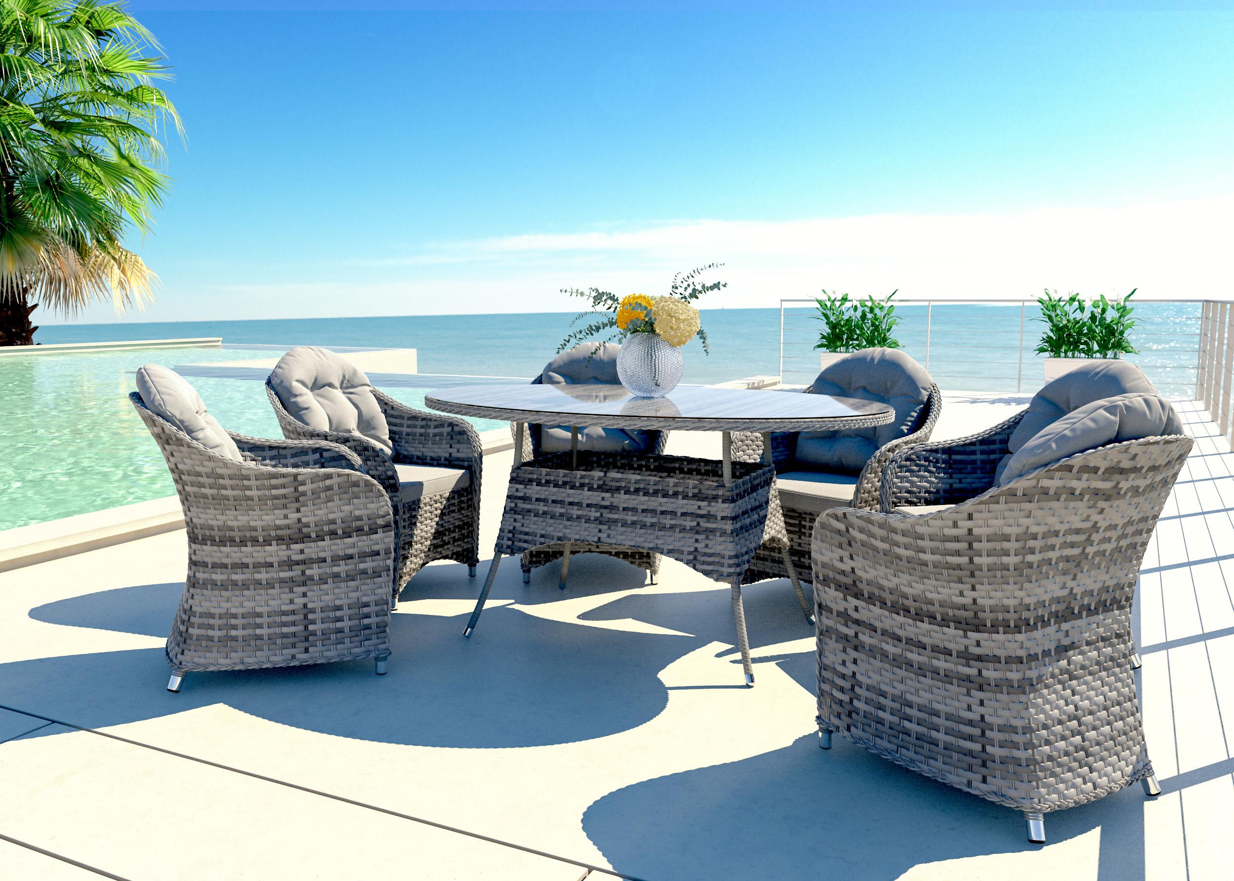 artelia rattan essgruppe ocean line livia l f r 6 personen mit tisch und st hlen aus polyrattan. Black Bedroom Furniture Sets. Home Design Ideas