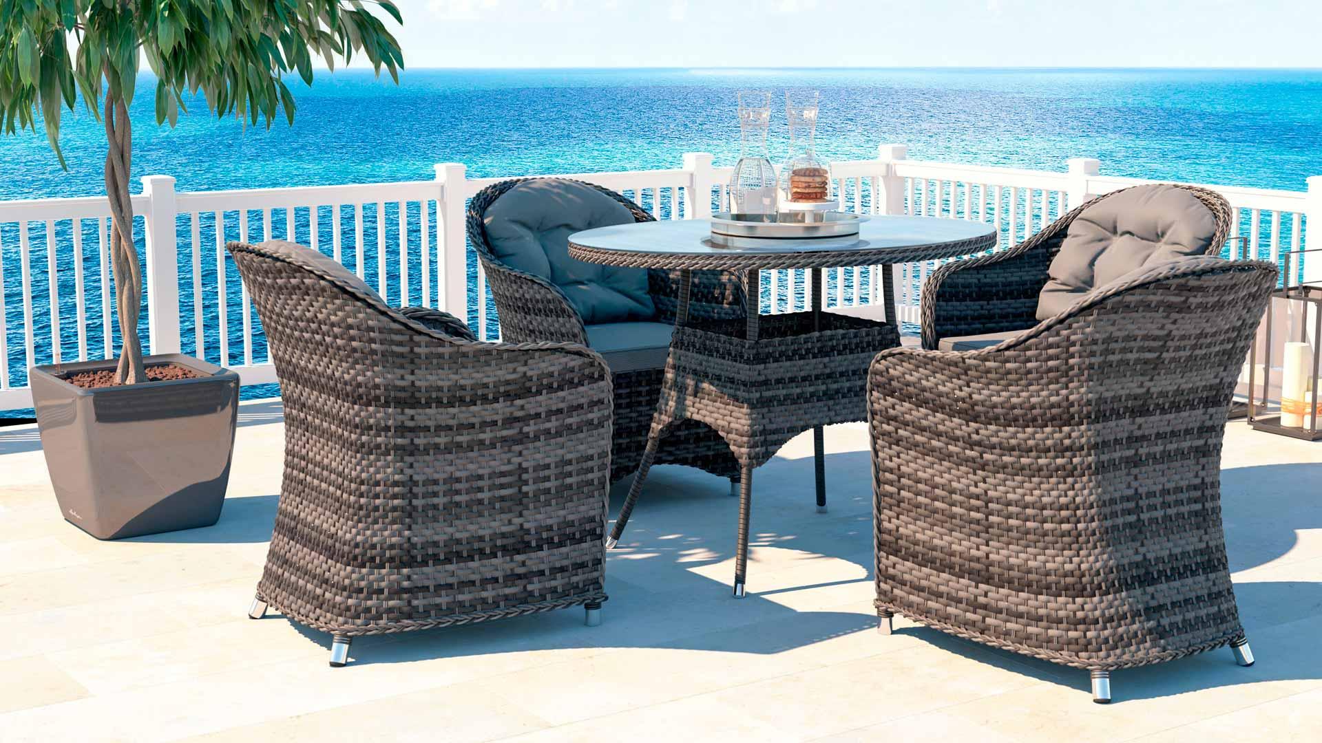 artelia rattan essgruppe ocean line livia m f r 4 personen mit tisch und st hlen aus polyrattan. Black Bedroom Furniture Sets. Home Design Ideas