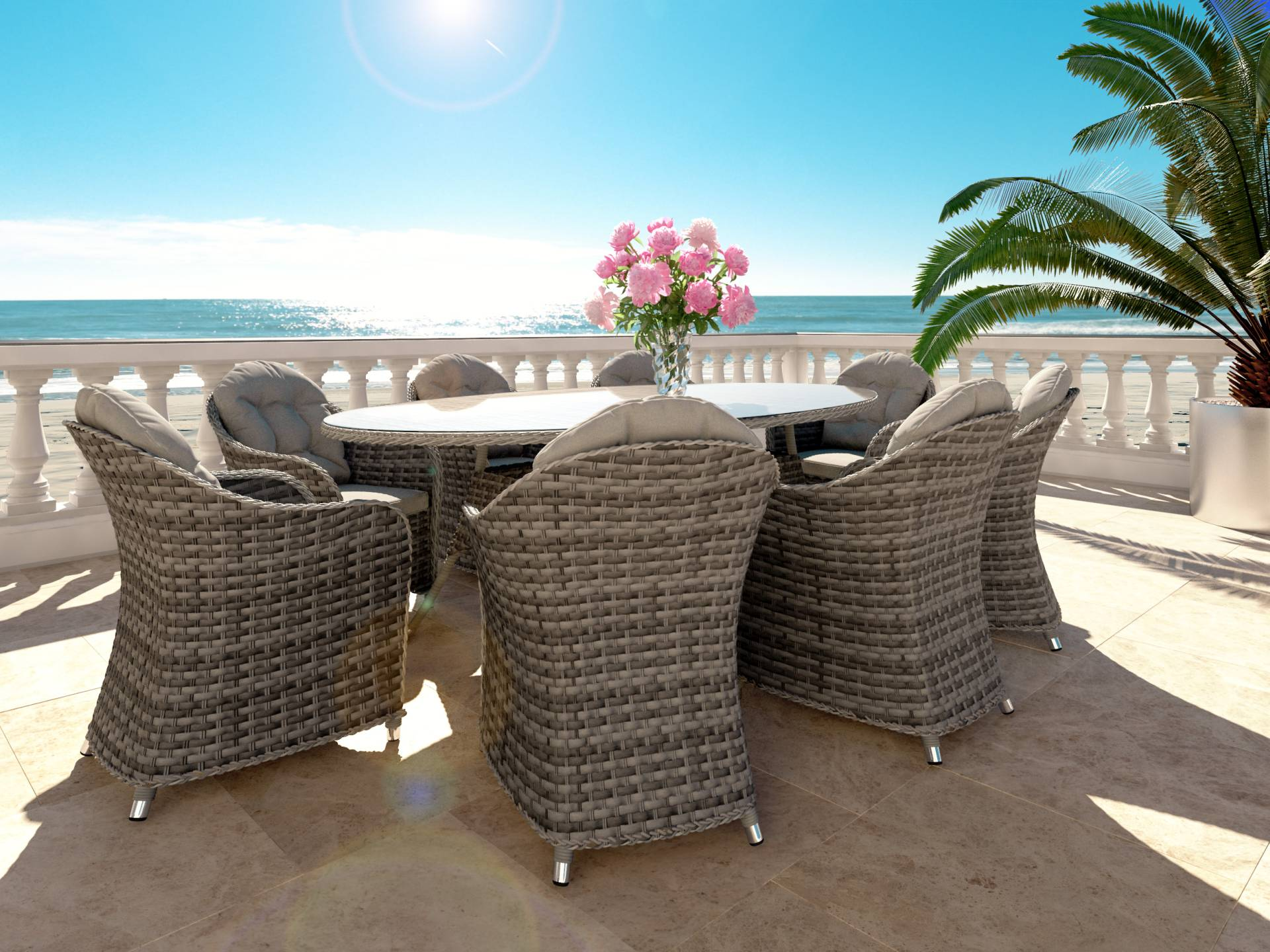 artelia rattan essgruppe ocean line livia xl f r 8 personen mit tisch und st hlen aus polyrattan. Black Bedroom Furniture Sets. Home Design Ideas