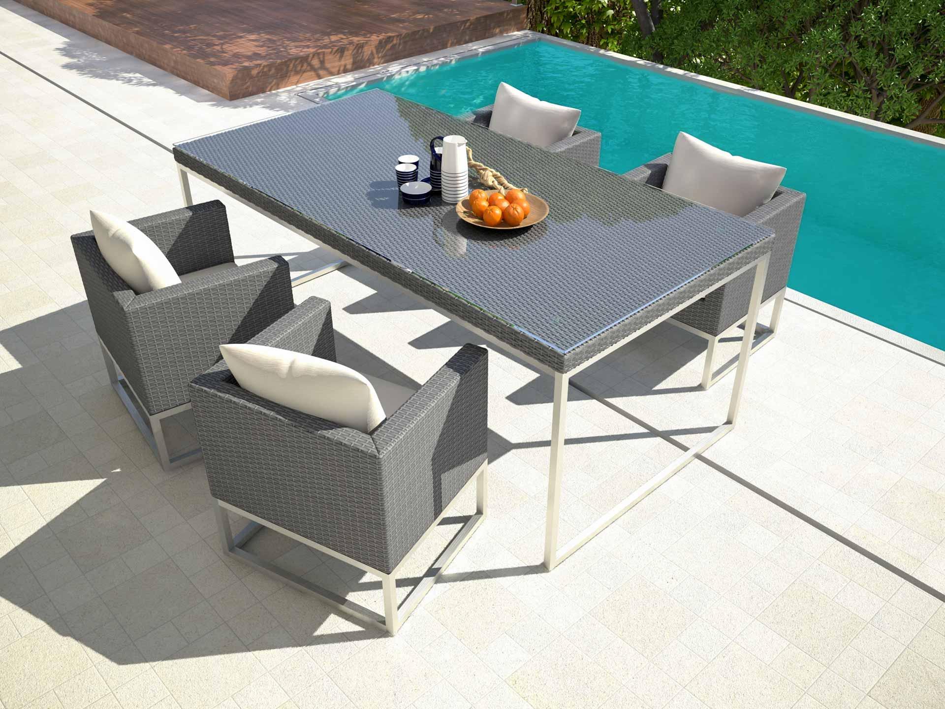 artelia polyrattan aluminium esstisch set mara m. Black Bedroom Furniture Sets. Home Design Ideas