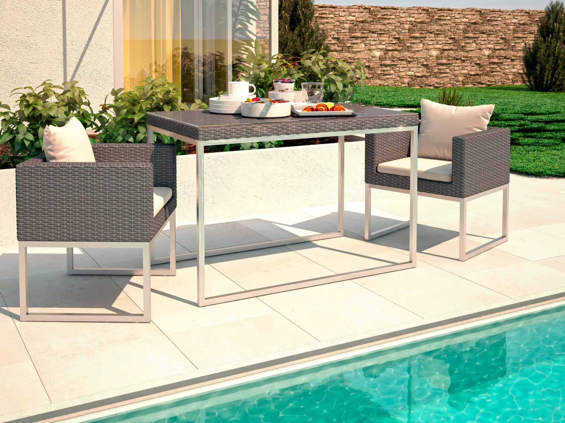 artelia polyrattan aluminium esstisch set mara s. Black Bedroom Furniture Sets. Home Design Ideas