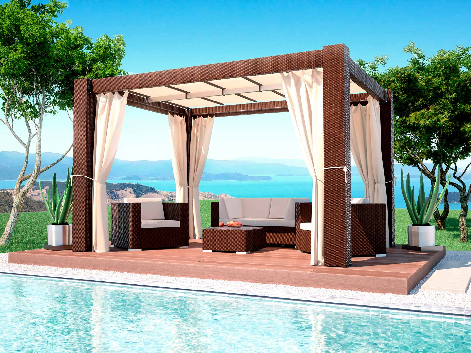 artelia polyrattan pavillon paloma in 4m l nge. Black Bedroom Furniture Sets. Home Design Ideas