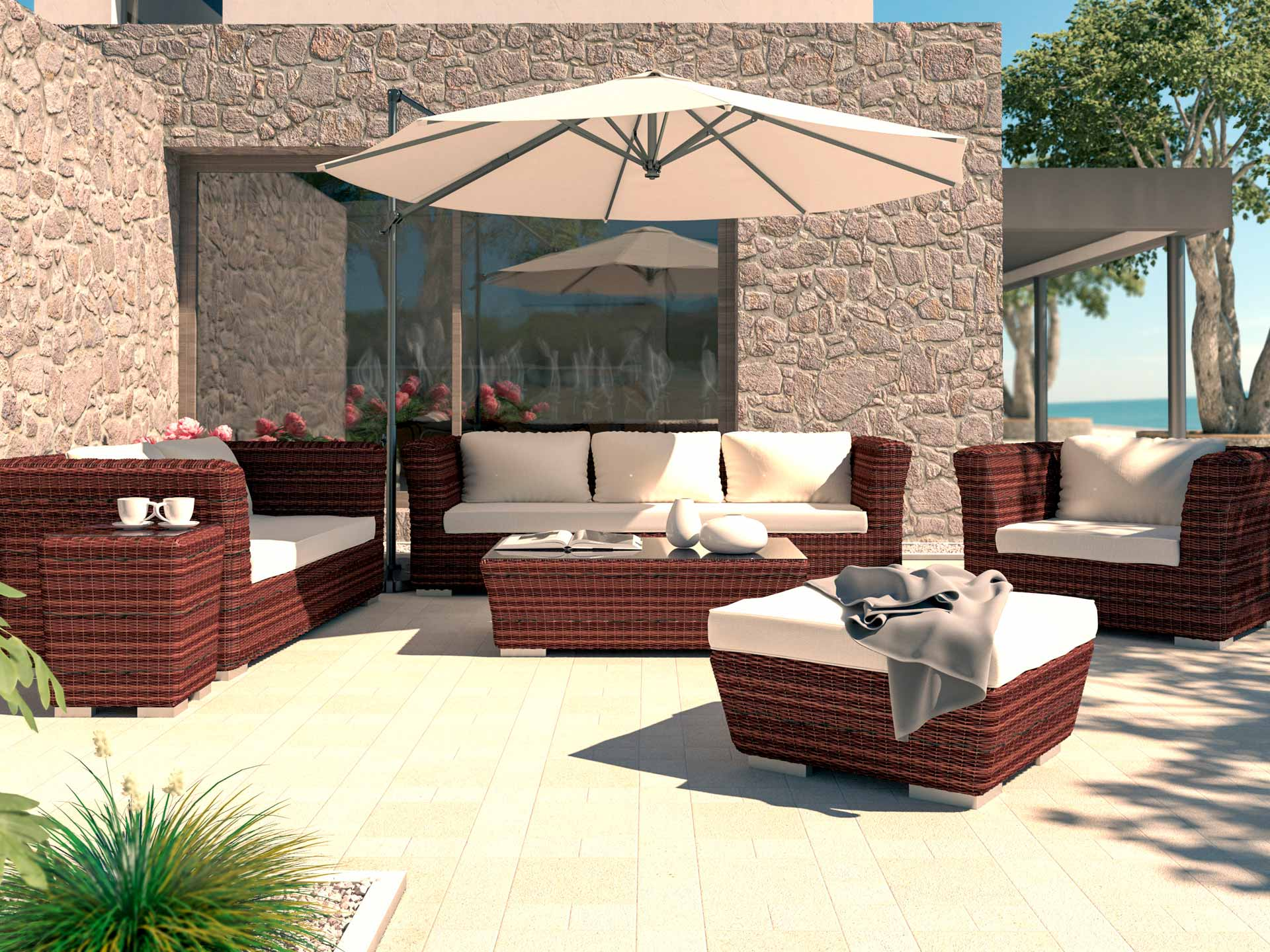 artelia terrassenm bel sitzgruppe rigantona aus polyrattan. Black Bedroom Furniture Sets. Home Design Ideas
