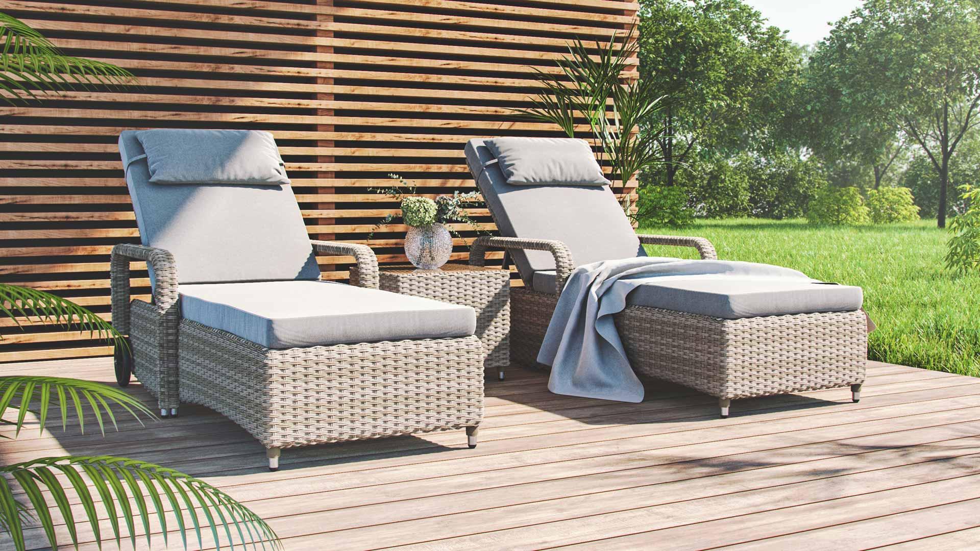artelia geschwungene rattanliegen mit beistelltisch aus. Black Bedroom Furniture Sets. Home Design Ideas