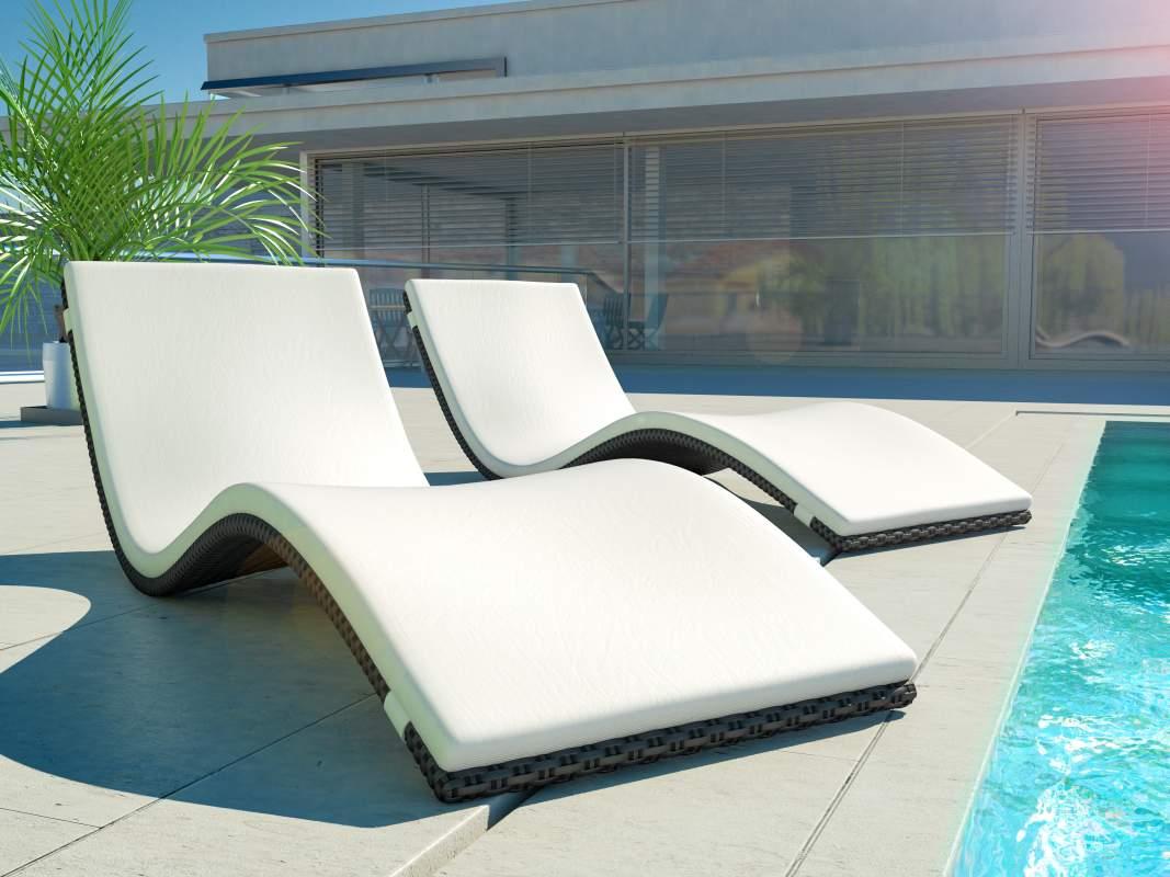 ... Rattanliegen aus Polyrattan für Terrasse, Pool und Garten