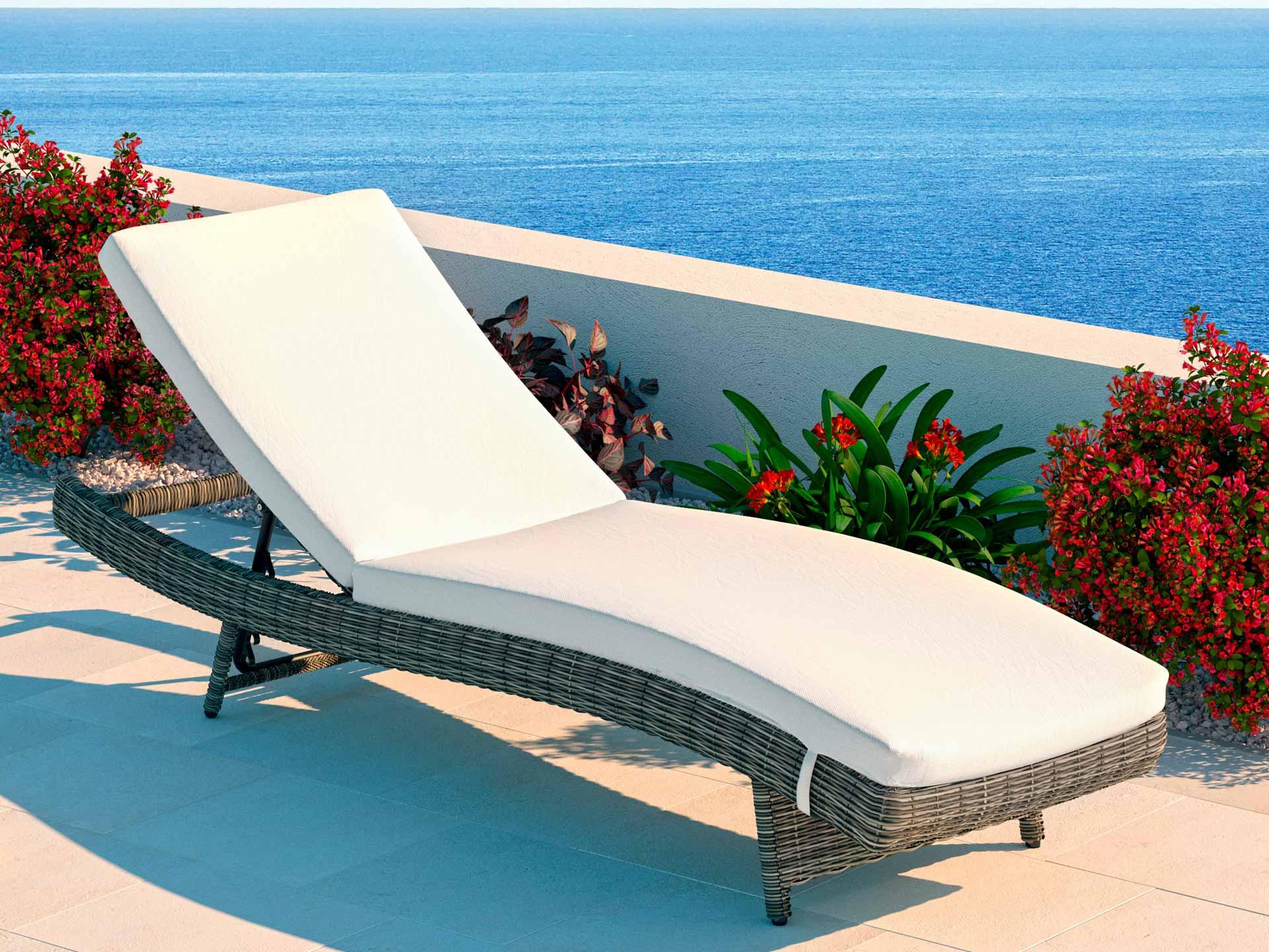 artelia geschwungene rattanliege aus polyrattan f r. Black Bedroom Furniture Sets. Home Design Ideas