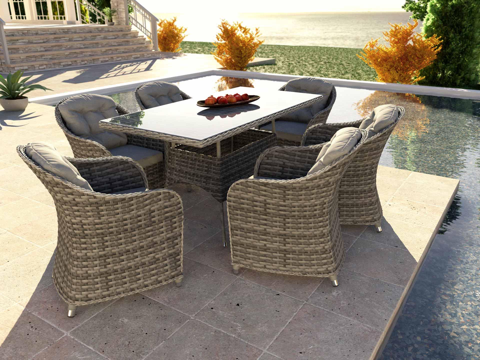 artelia rattan essgruppe ocean line velia l f r 6 personen mit tisch und st hlen aus polyrattan. Black Bedroom Furniture Sets. Home Design Ideas