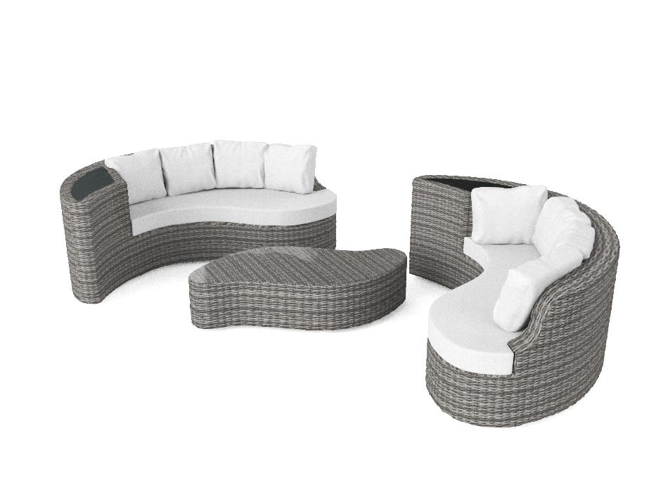 Salon de jardin lounge de luxe résine tressée haut de gamme Yamelia