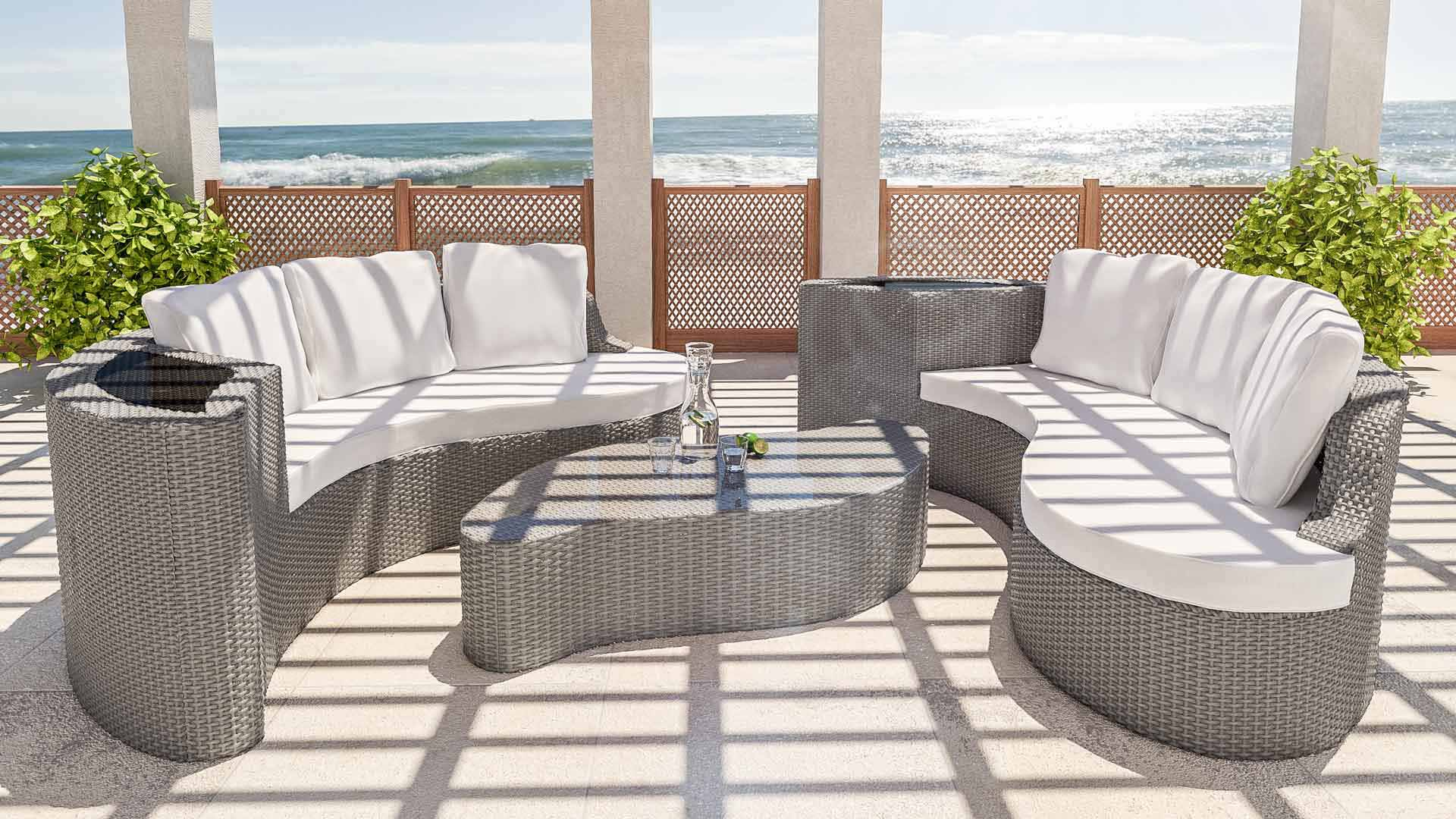 Artelia rattaninsel f r garten und terrasse aus polyrattan - Salon de jardin design luxe ...